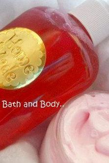 peppermint bath and body bath set. peppermint shower gel and lotion